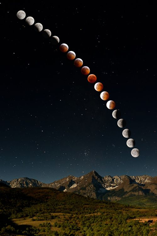 Lunar eclipse. Moon moves from the penumbra into the umbra where it becomes a total eclipse. It becomes red from the suns light traveling over the Earth's atmosphere and reflecting off the moon