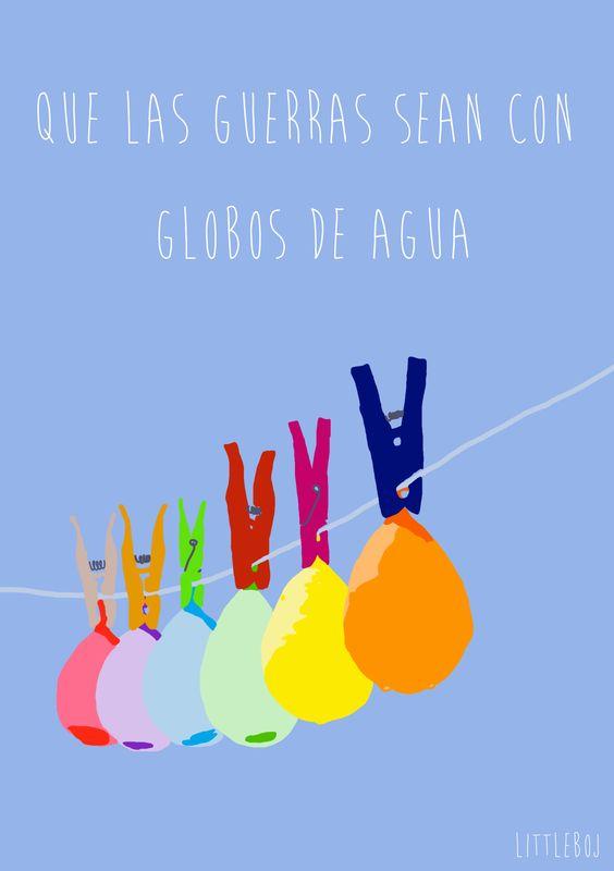 Que las guerras sean con globos de agua Nos divertimos mucho jugando con agua, muchos juegos, mucha fiesta.  www.fiestastempranito.com