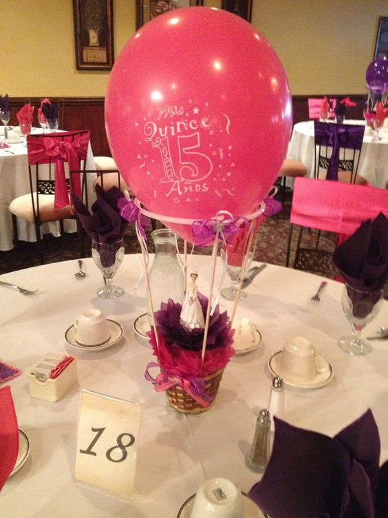 Quinceanera centerpiece table topper ideas pinterest for Balloon decoration ideas for quinceaneras