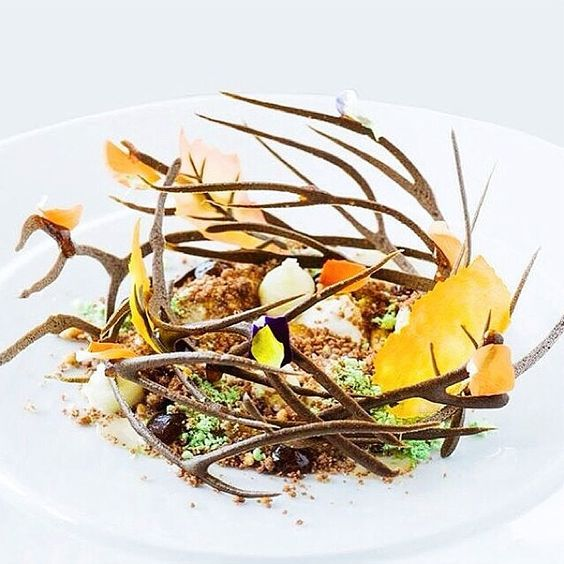 Caramelized banana, chestnut ice cream, and peanut crumble by @yosi77 #TheArtOfPlating: