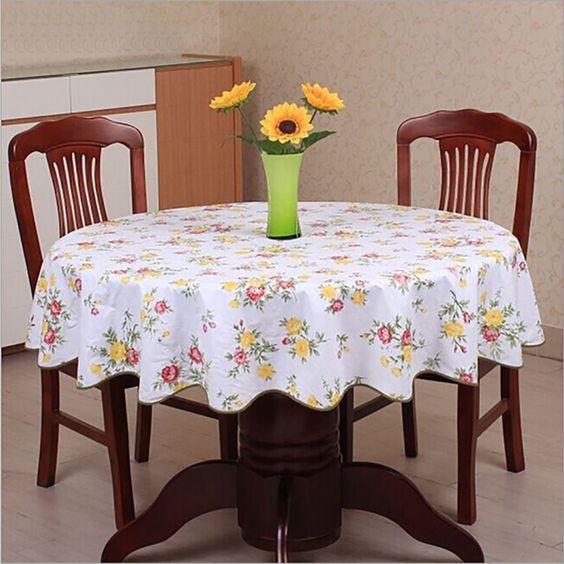 Pastoral estilo onda toalha de mesa PVC anti quente de plástico toalha de mesa para mesa redonda home hotel tampa de tabela decoração à prova d ' água alishoppbrasil
