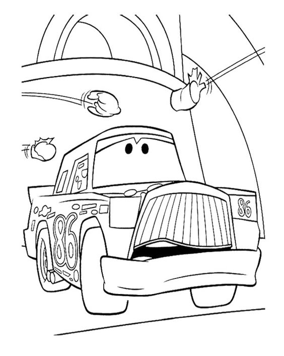 Cartoon Car Sad Coloring Page