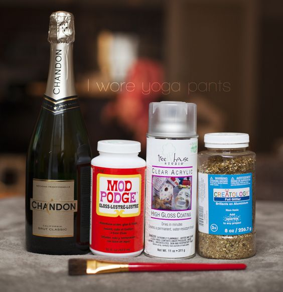 I Wore Yoga Pants To Work: Glitter Champagne Bottle Tutorial | DIY ...