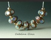 Lampwork Beads Handmade by Catalina Glass SRA    Opal Pastels 7 Beads