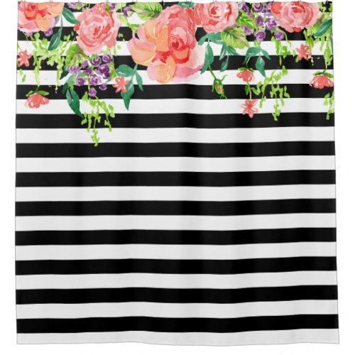 Black And White Floral Roses Watercolor Art Stripe Shower Curtain Zazzle Com Watercolor Rose Striped Shower Curtains Watercolor Art