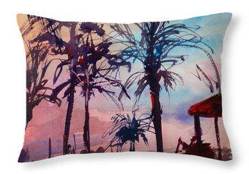 Marco Island Hilton Poolside Throw Pillow by Sandra Strohschein
