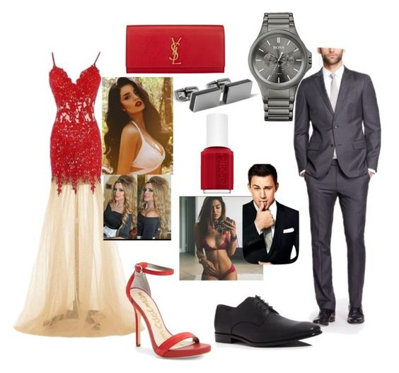 """""""couple goals"""" by stylesonlyy ❤ liked on Polyvore featuring Yves Saint Laurent, HUGO, Sam Edelman, BOSS Hugo Boss and Essie"""