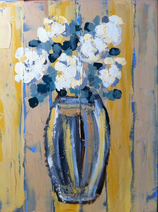 """White Roses on Saffron"" (30""x40"") (SOLD) I French Palette Art by Sherrill…"