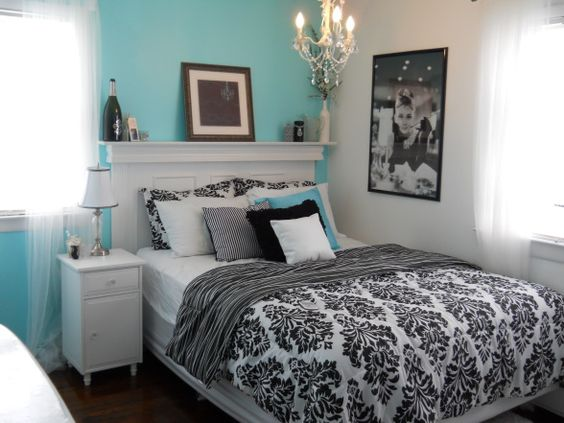 Awesome - Bedroom created using Tiffany blue (and on a budget. Headboard made out of moldings, side table from a thrift store (all furniture was painted white and bought glass knobs ebay)