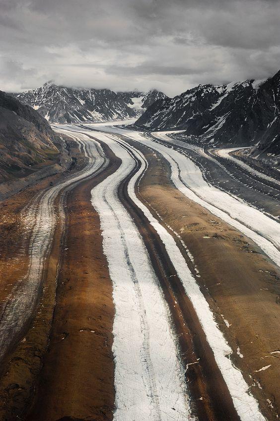 medial moraines of barnard #gacier I #alaska by wrangell- st.elias national park