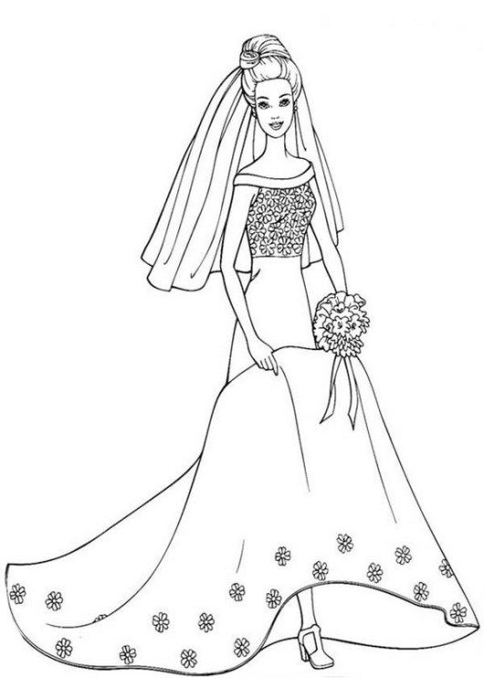 Beauty Barbie Bridal Dress Coloring Sheet Wedding Coloring Pages Barbie Coloring Pages Princess Coloring Pages