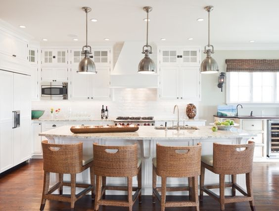 kitchen: White Kitchen, Traditional Kitchen, Barstool, Coastal Kitchen