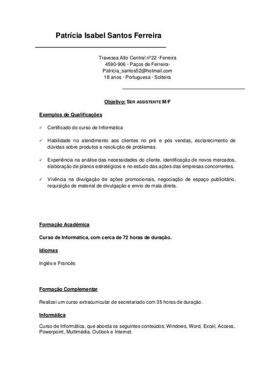 Patrícia Isabel Santos Ferreira Travessa Alto Central nº22 - resume for freshmen civil engineering