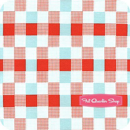 Happy Go Lucky Aqua and Red Check Yardage SKU# 55067-11 - Fat Quarter Shop