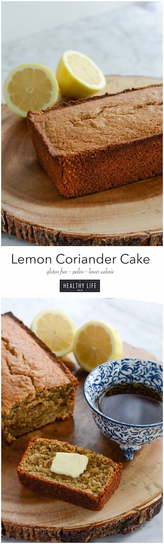 Lemon Coriander Cake is a delightful, not to sweet cake that has a surprising flavor of coriander with the brightness of lemon. Made with almond, tapioca, and coconut flour and sweetened with maple syrup. A low calorie, dense, gluten free, and paleo friendly cake recipe. - A Healthy Life For Me