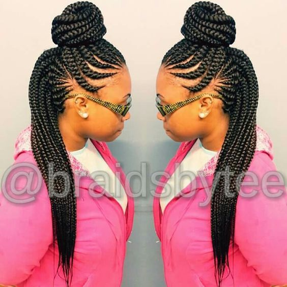 Ghana braids in a top bun!: