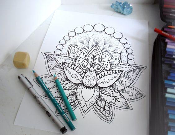 Lotus flower coloring page instant download print your - Fleur de lotus mandala ...