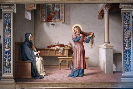 Siena (Italia) - Santuario Casa di Santa Caterina da Siena - Oratorio della Camera - Alessandro Franchi-Gaetano Marinelli - Caterina si recide i lunghi capelli - 1896.
