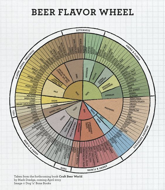 """""""Taken from the forthcoming book, Craft Beer World, by Mark Dredge, coming April 2013  http://drinkingmadeeasy.com/wp-content/uploads/2013/01/CBWFlavourWheelMarkDredge908.jpg"""