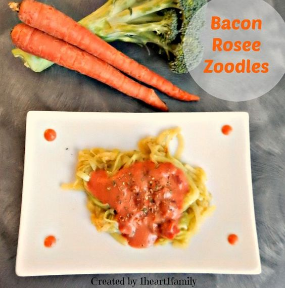 Making Bacon Rosee Zoodles with Microplane Spiral Slicer #recipe - 1 Heart, 1 Family