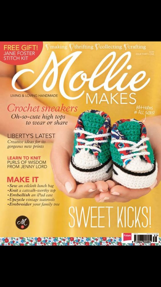 Mam takie butki! :)  Amazing crochet sneaker project for Mollie Makes #31 - out now! By HanJan Hannah Reed