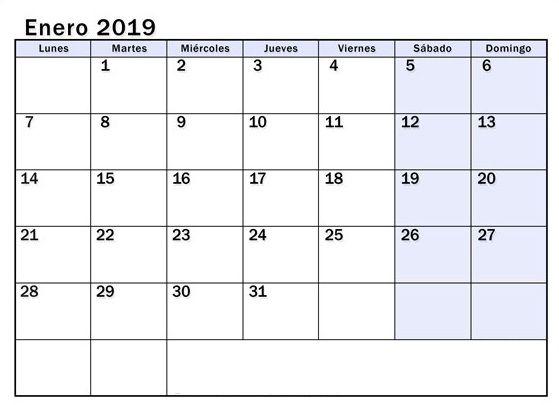Calendario Enero 2019 Pdf Calendario Enero Calendario Enero