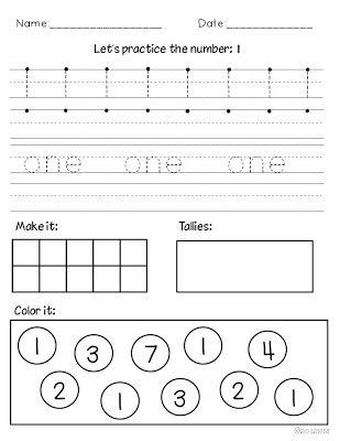 Number Names Worksheets number practice for kindergarten : Number activities, Pictures and Miss kindergarten on Pinterest