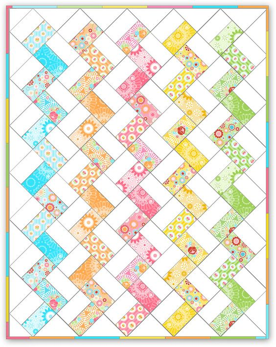 Rainbow colors or otherwise this zig zag quilt would be pretty easy and . . . pretty! Quilting ...