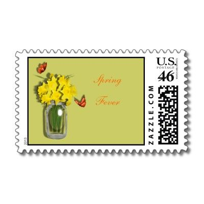 Spring Fever Mason Vase of Daffodils Butterflies US Postal Stamps