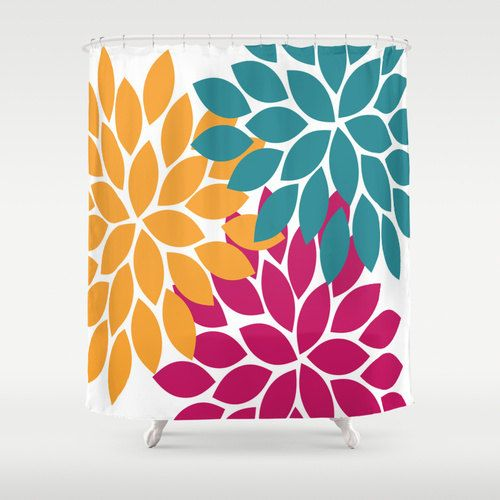 Shower Curtain CUSTOM Teal Orange You Choose By HoneyDesignStudio F