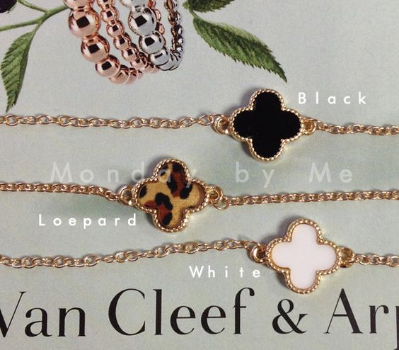 Van Cleef and Arpels style Clover Bracelet by Mondaybyme on Etsy, $8.50: