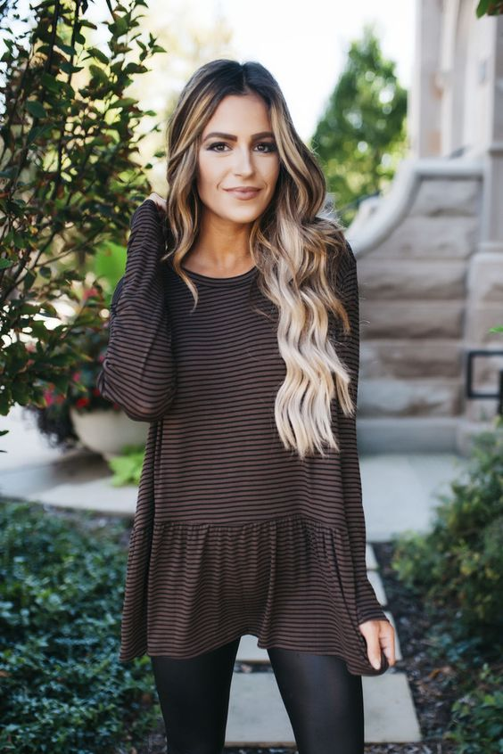 Brown Striped Baby Doll Long Sleeve Top - Dottie Couture Boutique