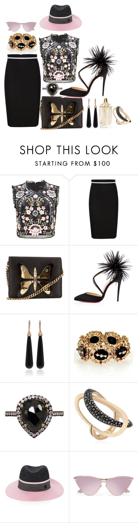 """""""Dedicated to Me & My Dreams"""" by blujay1126 ❤ liked on Polyvore featuring Marco de Vincenzo, Thierry Mugler, Gucci, Christian Louboutin, SUSAN FOSTER, Mike Saatji, ANTONINI, Maison Michel and Le Specs"""