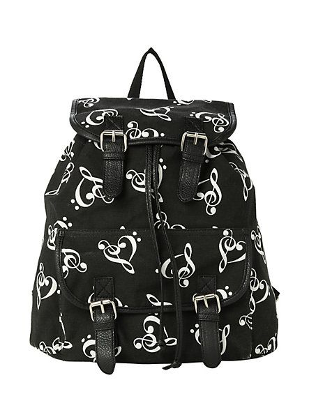 Music Clef Heart Slouch Backpack | Hot Topic:
