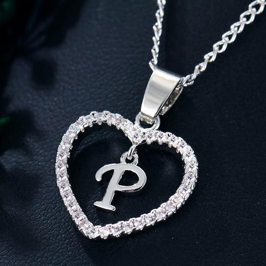 Initial P Name Letter Cz Heart Crystal Charms Necklaces