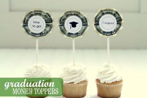 Money Cupcake Toppers - blogger used these for a graduation party, but I could see this being used for all sorts of parties...