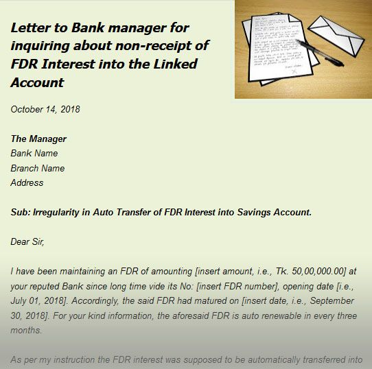 Sample Letter To Bank Complaining Against Non Payment Of Fdr Interest Lettering Sms Bank