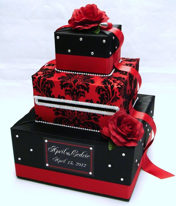 Black and Red Damask Wedding Card BoxRhinestone accentsRed Roses – Red Wedding Card Box