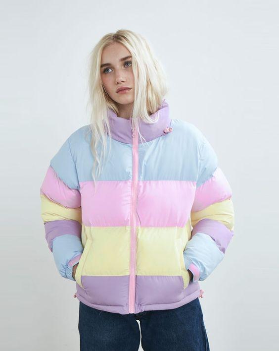 Lazy Oaf | Pastel Panel Puffer Jacket | #jacket #fashion