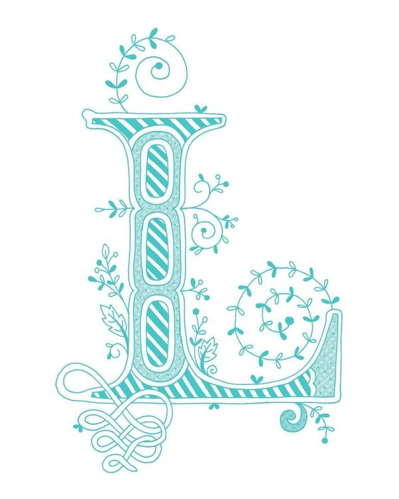 Hand drawn monogrammed print, 8x10, the Letter L, in the color blue ...