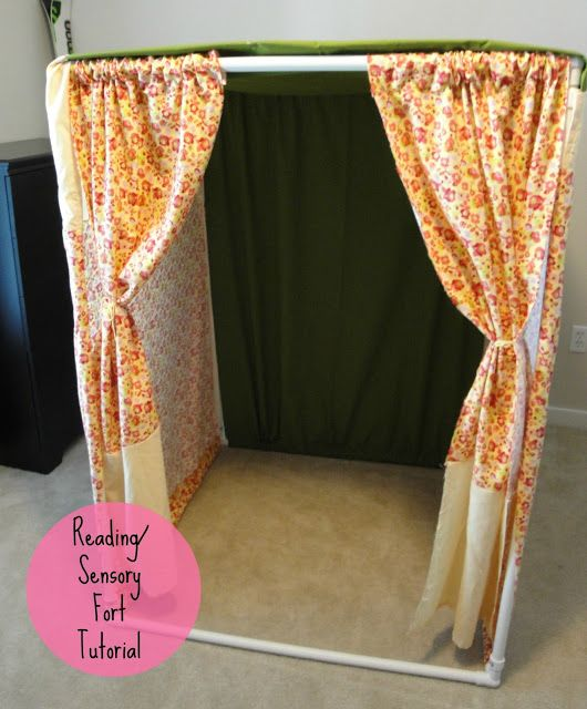 "DIY PVC tent! Perfect for a cozy reading spot or even a doll ""Room""! Couldn't resist, thought this was too awesome!"