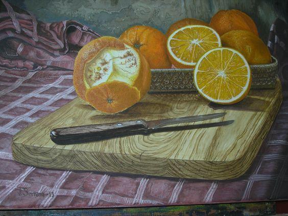 Bodegón de naranjas, al óleo