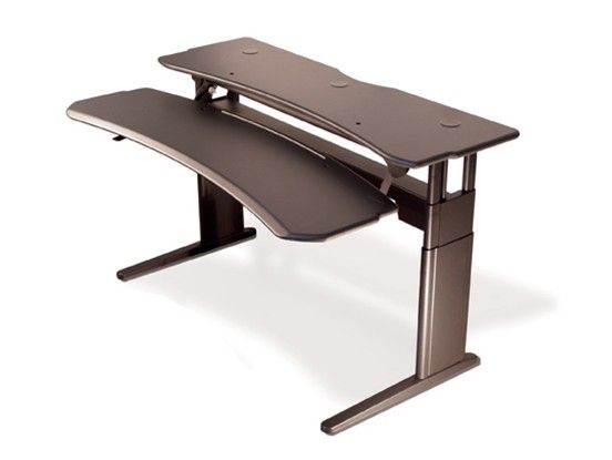 linear, dual surface desk series with crank or motorized sit-to-stand