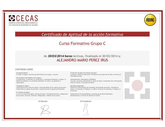2014 ARAG Certificado Curso Formacion en Seguros Aseguradoras Comercializacion Comerciales Grupo C de Alejandro Pérez Irús AlejandroPI