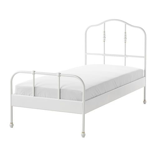 Sagstua Bed Frame White Luroy Twin With Images Twin Bed Frame Bed Frame White Metal Bed