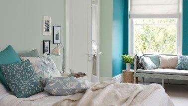 Peinture les couleurs chambre adulte id ales pour les murs turquoise pastel et acapulco for Peindre une chambre adulte