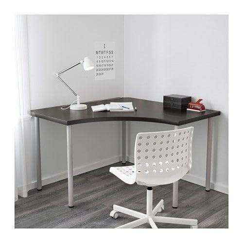 Linnmon Adils Corner Table Black Brown Silver Color 47 1 4x47 1 4 Ikea Corner Table Ikea Home Office Design Ikea Corner Desk