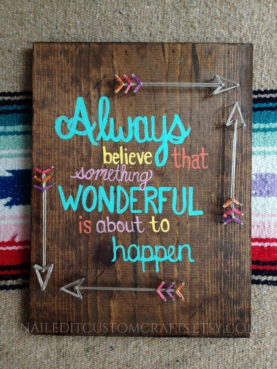 Wooden Signs For Home Decor Arrow Art String Art Colorful Positive Vibes Quotes Wood