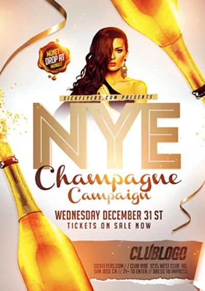 Nye Champagne Campaign Flyer Template  HttpFfflyerComNye