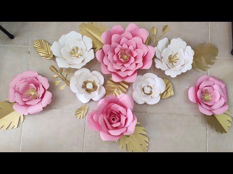 طريقة عمل ورد كبير من الورق الملون للديكورات والزينة How To Make A Paper Flower Youtube Ramadan Crafts Crafts Wedding Stickers
